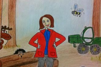Framsida på boken Anna kör skogsmaskin - illustration av Stina Durge